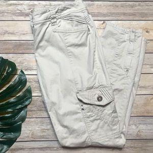 WHBM Slim Ankle Utility Cargo Pants Khaki Size 6